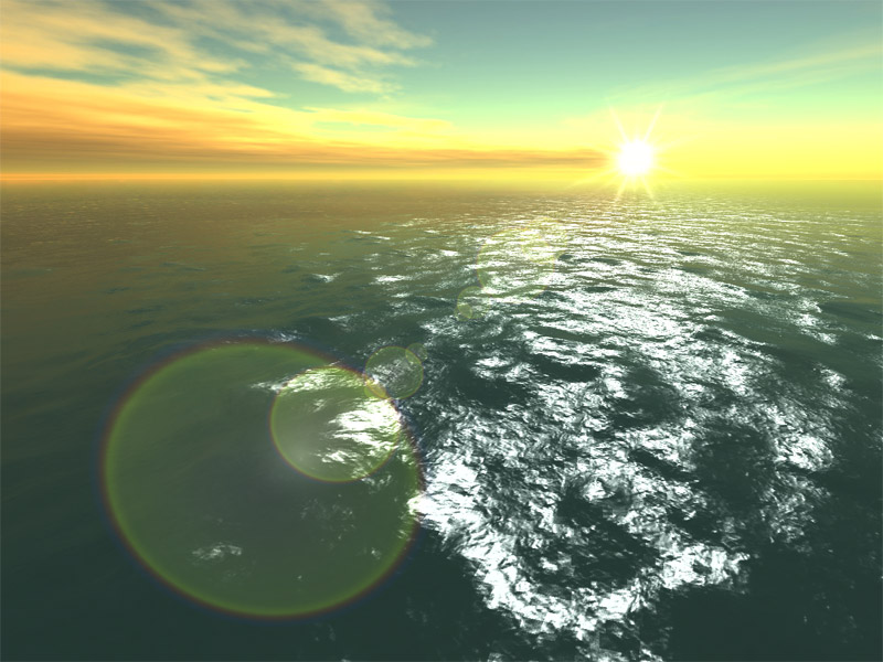 A peaceful flight over the ocean in true 3D
